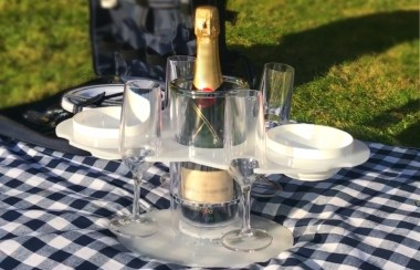 Grip-O with Mini Bar Tray 4 champagne flutes and 2 snack bowl and Perfect Picnic Tray